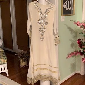 Three piece ivory Pakistani gown small